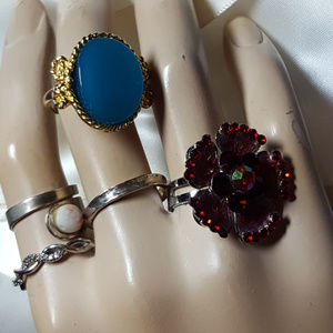 RETRO BUNDLE OF RINGS SOME STERLING AND MORE